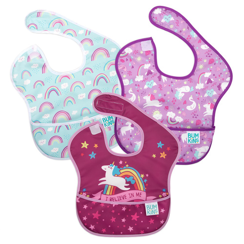 Bumkins SuperBib 3 pk - Unicorn/Rainbow