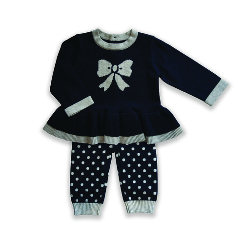 Beanstork Bow 2pc Set In Navy