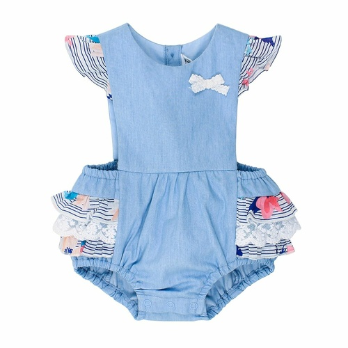 Bebe Abby Chambray Playsuit With Frills