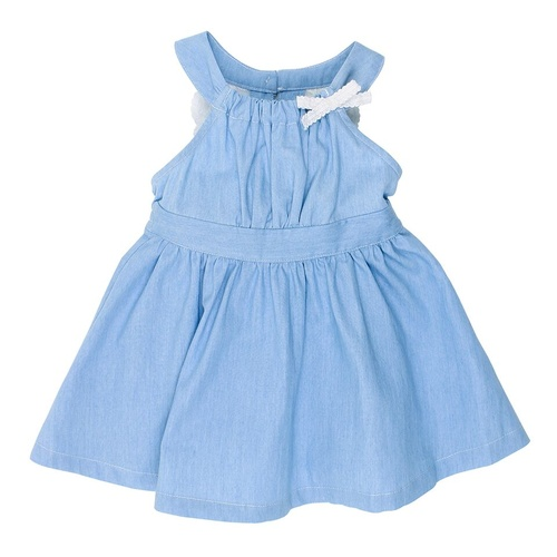 BEBE ABBY CHAMBRAY LACE DRESS