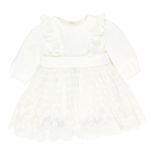 Bebe L/S Satin Layered Dress With Bow Ivory