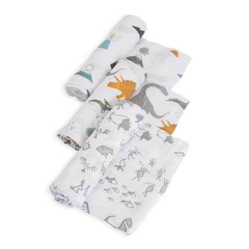 Little Unicorn Cotton Muslin Wraps 3pk - Dino Friends