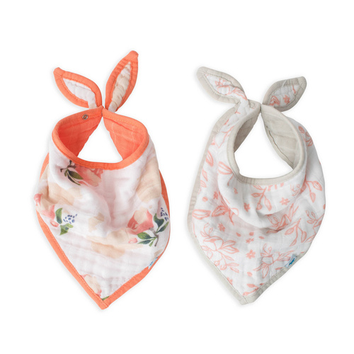 Little Unicorn Muslin Bandana Bib 2pk - Watercolour Roses