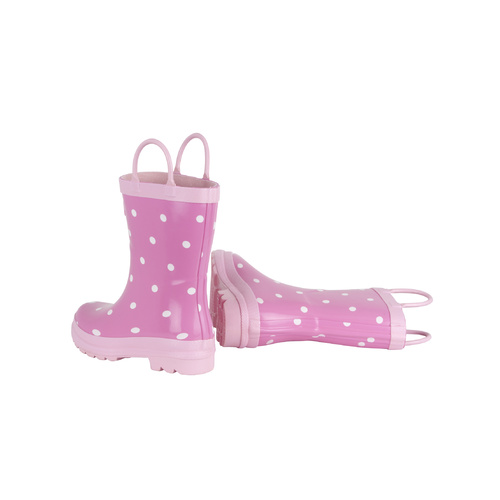 Hatley Pink with White Dots Gumboots